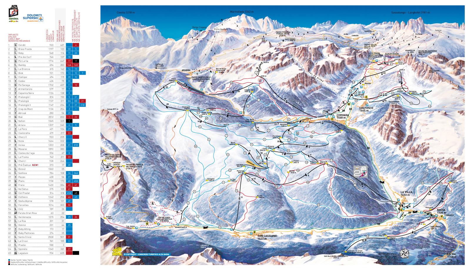 Alta Badia – mapa sjezovek, lanovek a vleků