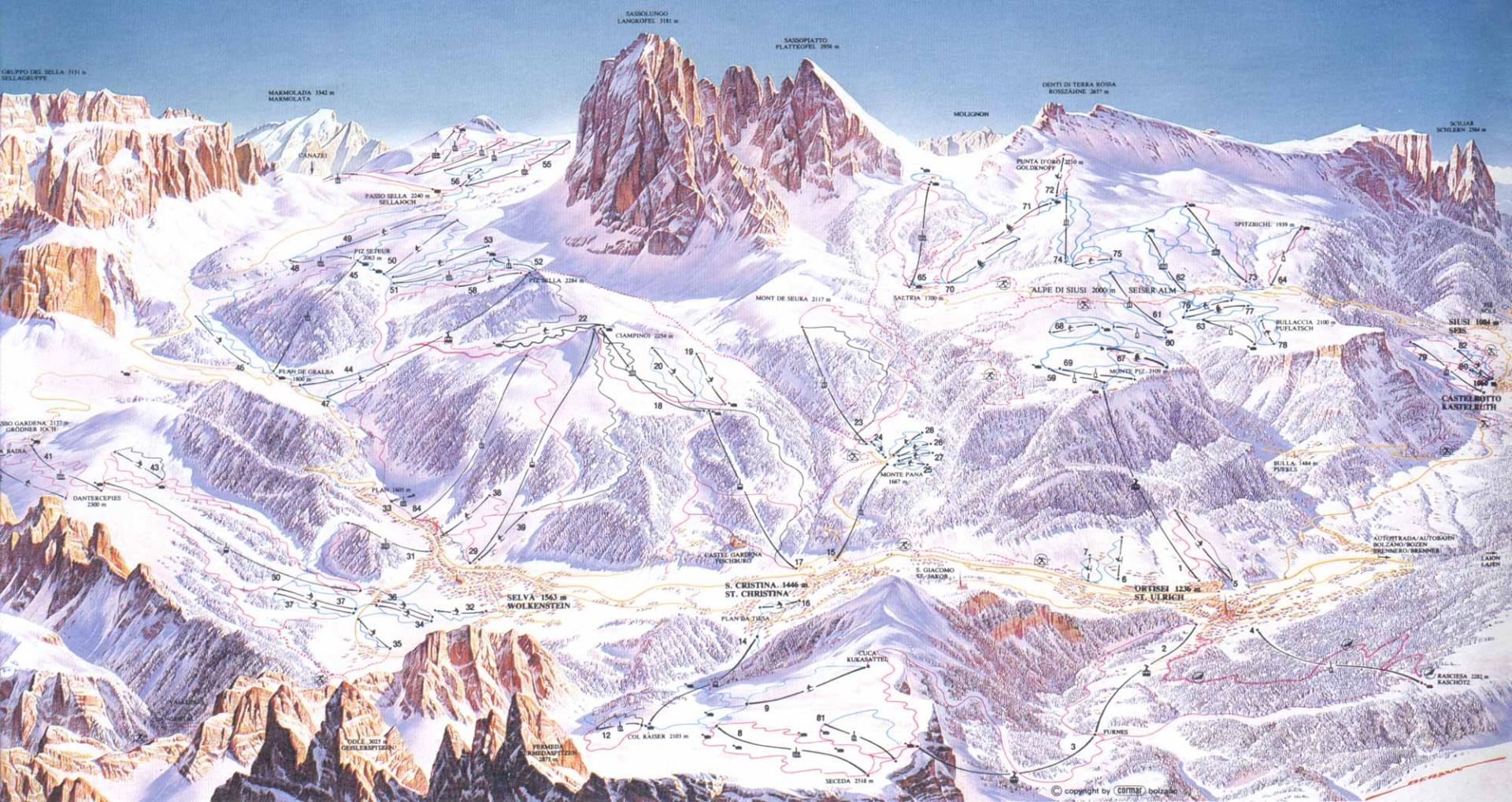 Mapa sjezdovek Val Gardena